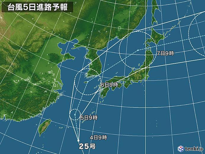 台風25号の福岡接近時間はいつ?影響は?
