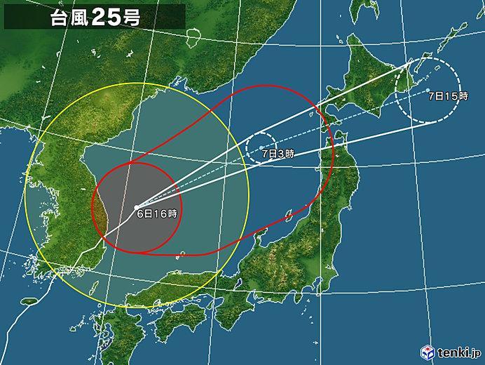 台風25号2018の進路予想